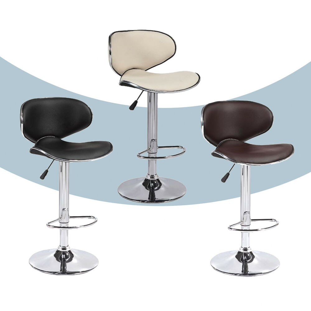 set of 2 adjustable bar stools leather hydraulic swivel dining chair in 3 colors ebay. Black Bedroom Furniture Sets. Home Design Ideas
