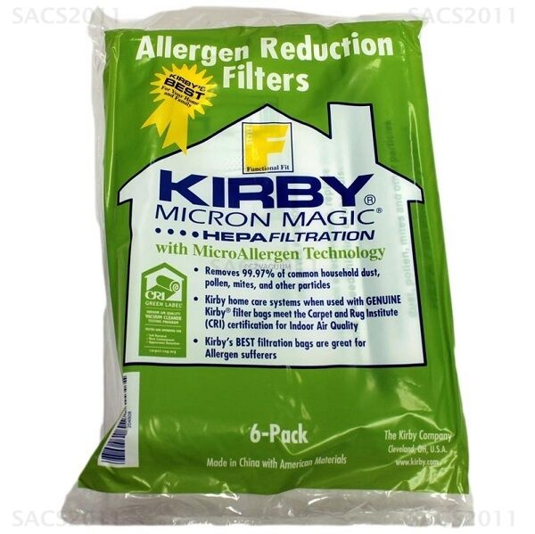 Genuine Kirby F Style Micron Magic HEPA Filtration 204808 Bag Pack (6)