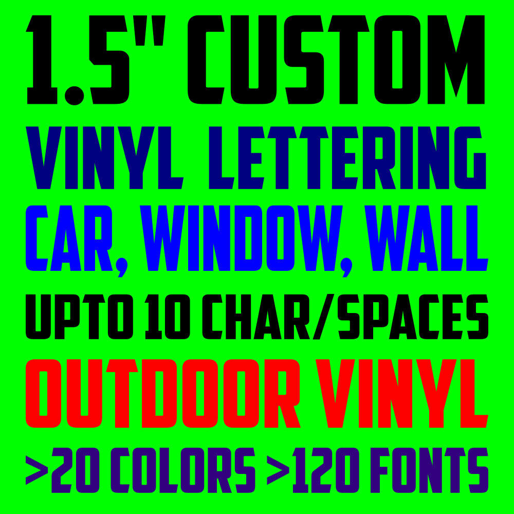 Details about 1 5 custom vinyl lettering text personalized car window laptop wall decal stick