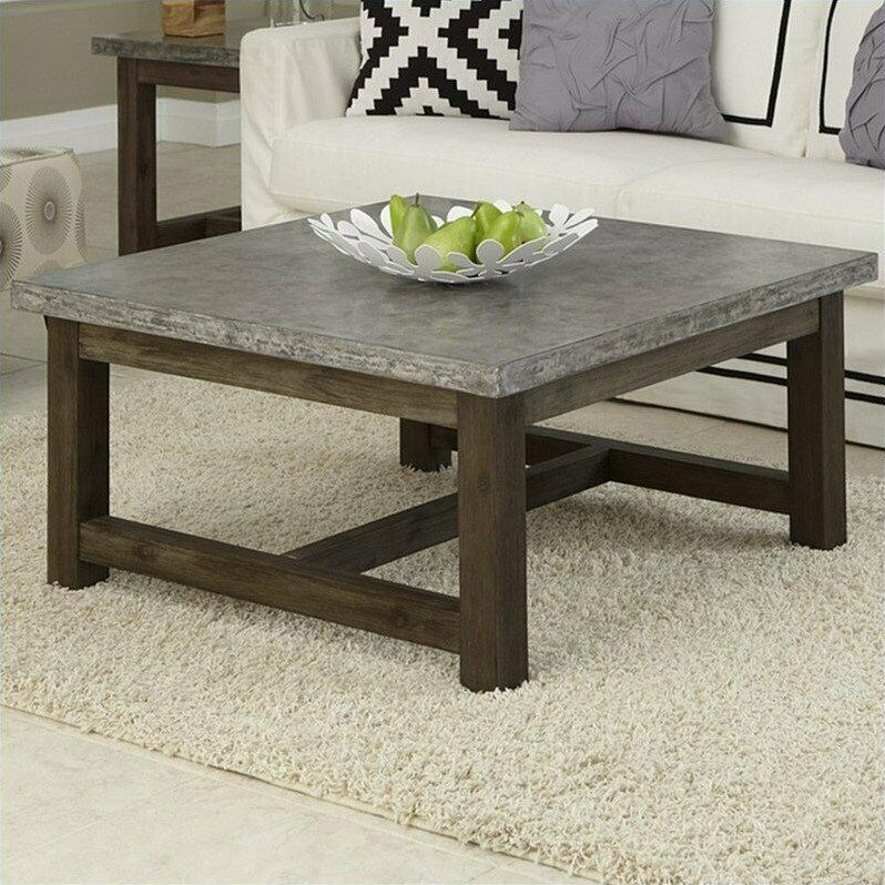 Square Coffee Table Grey: Home Styles Concrete Chic Square Coffee Table In Brown And