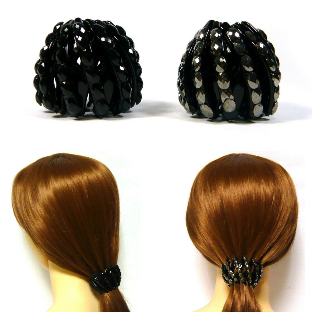 Details about 2PCS Acrylic Crystal Expanding Plastic Ball Bun Ponytail  Holder Hair Clip Cover 99859c6a64c