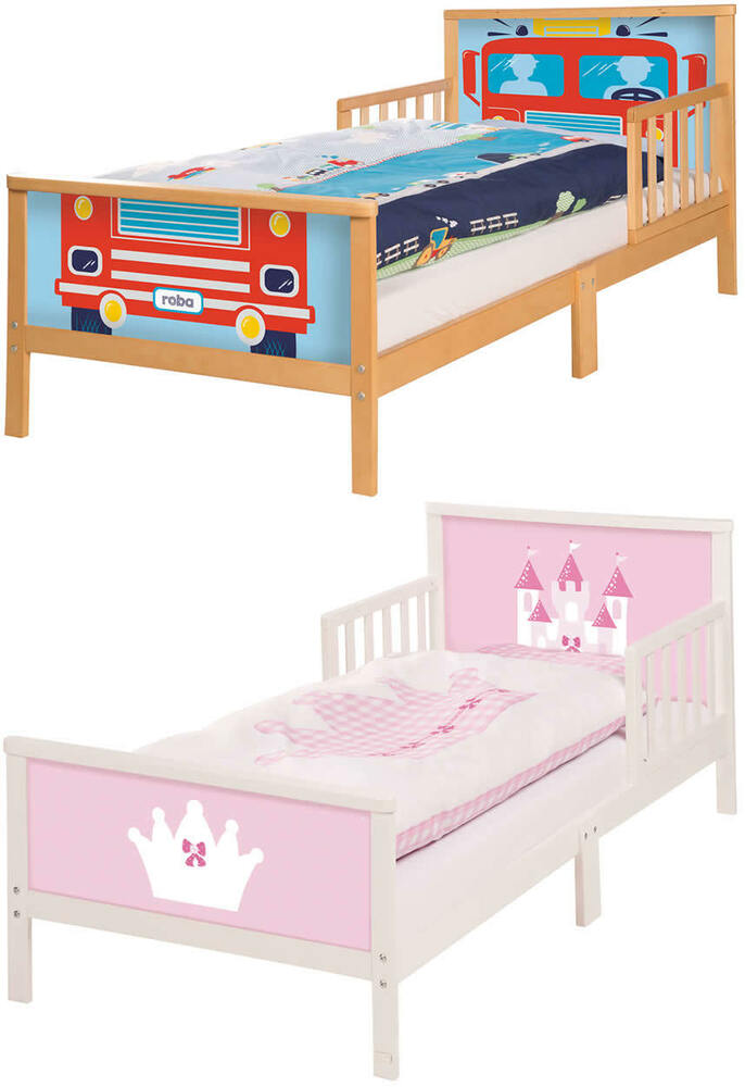 roba toddler bett kinderbett juniorbett rausfallschutz 70x140 cm holz ebay. Black Bedroom Furniture Sets. Home Design Ideas