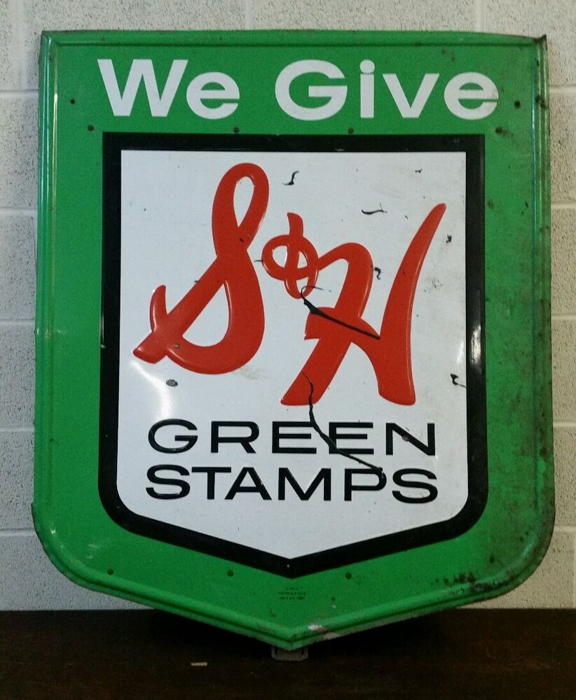 large vintage embossed tin s h green stamps sign ebay. Black Bedroom Furniture Sets. Home Design Ideas