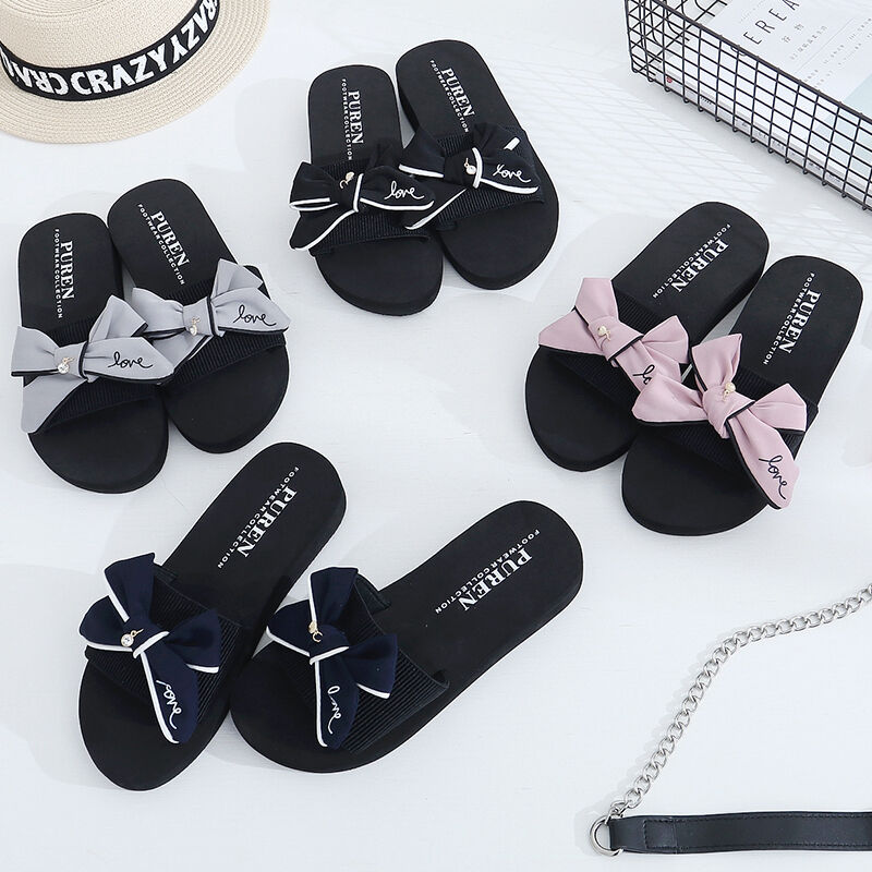 ddd22321694 Details about Womens Fashion Shoes Heels Bowknot Upper Slipper Casual Home  Bathing Shoes HX