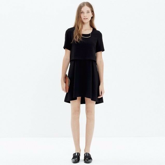 628ec68f1f165 Details about NWT  168 Madewell Folio Dress Size 10 Black Tiered Layered  with Pockets Women s