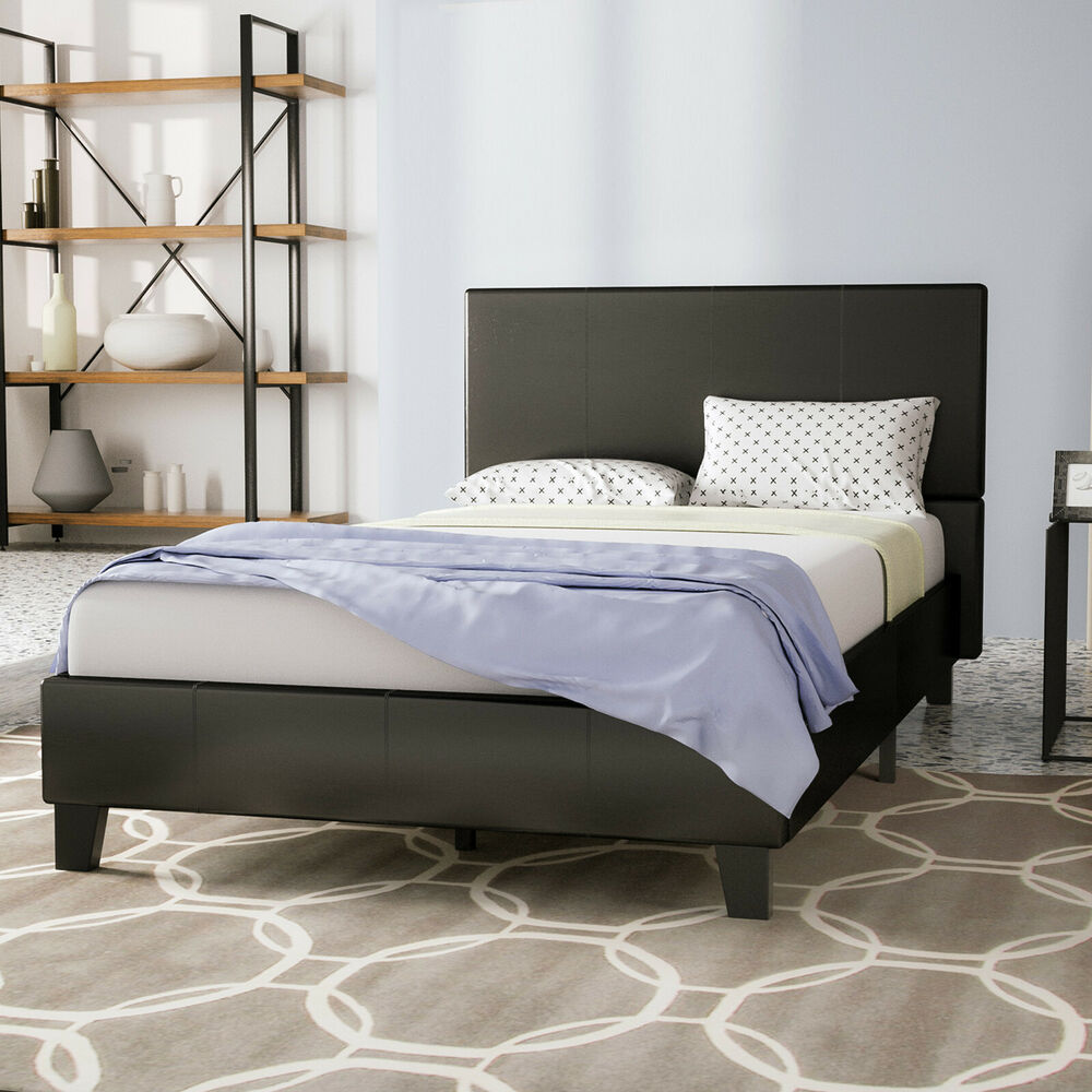 Twin Size Bed Frame Platform Amp Slats Faux Leather