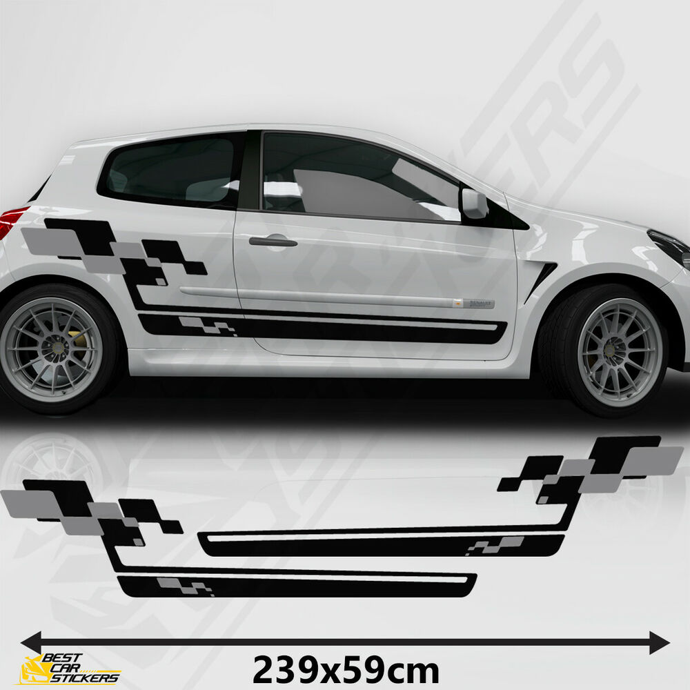 renault sports side racing stripes decal graphics tuning car clio cup stickers ebay. Black Bedroom Furniture Sets. Home Design Ideas