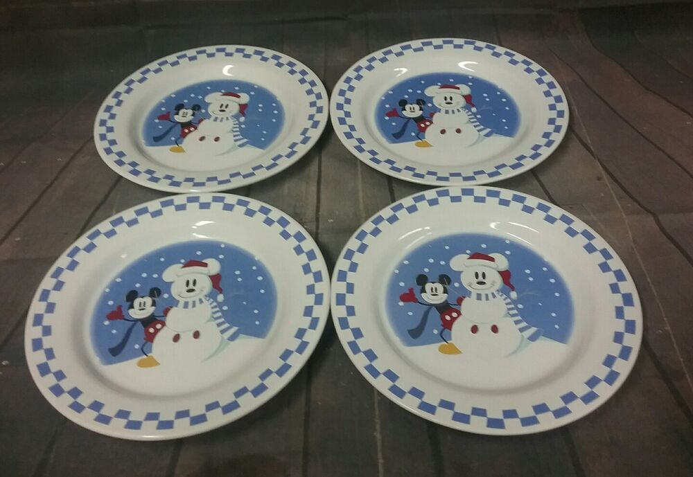 & disney china mickey mouse snowman checkerboard plates | eBay