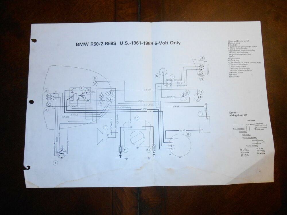 bmw oem r50 2 r695 us 1961 1969 6 volt only dealer wiring diagram ebay rh ebay com