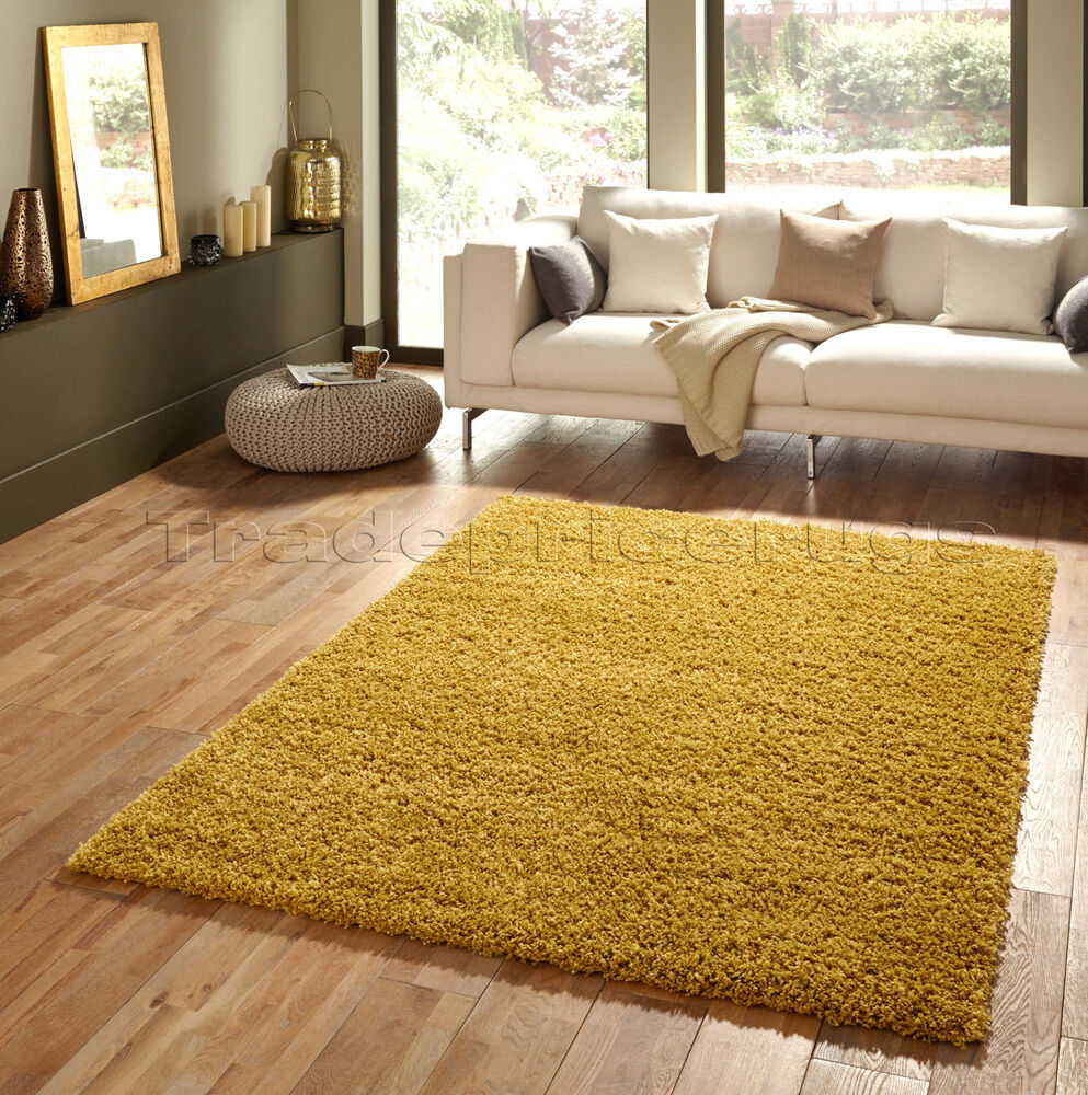 Yellow Shaggy Rug Uk: SMALL X LARGE MUSTARD HARVEST YELLOW OCHRE THICK SOFT