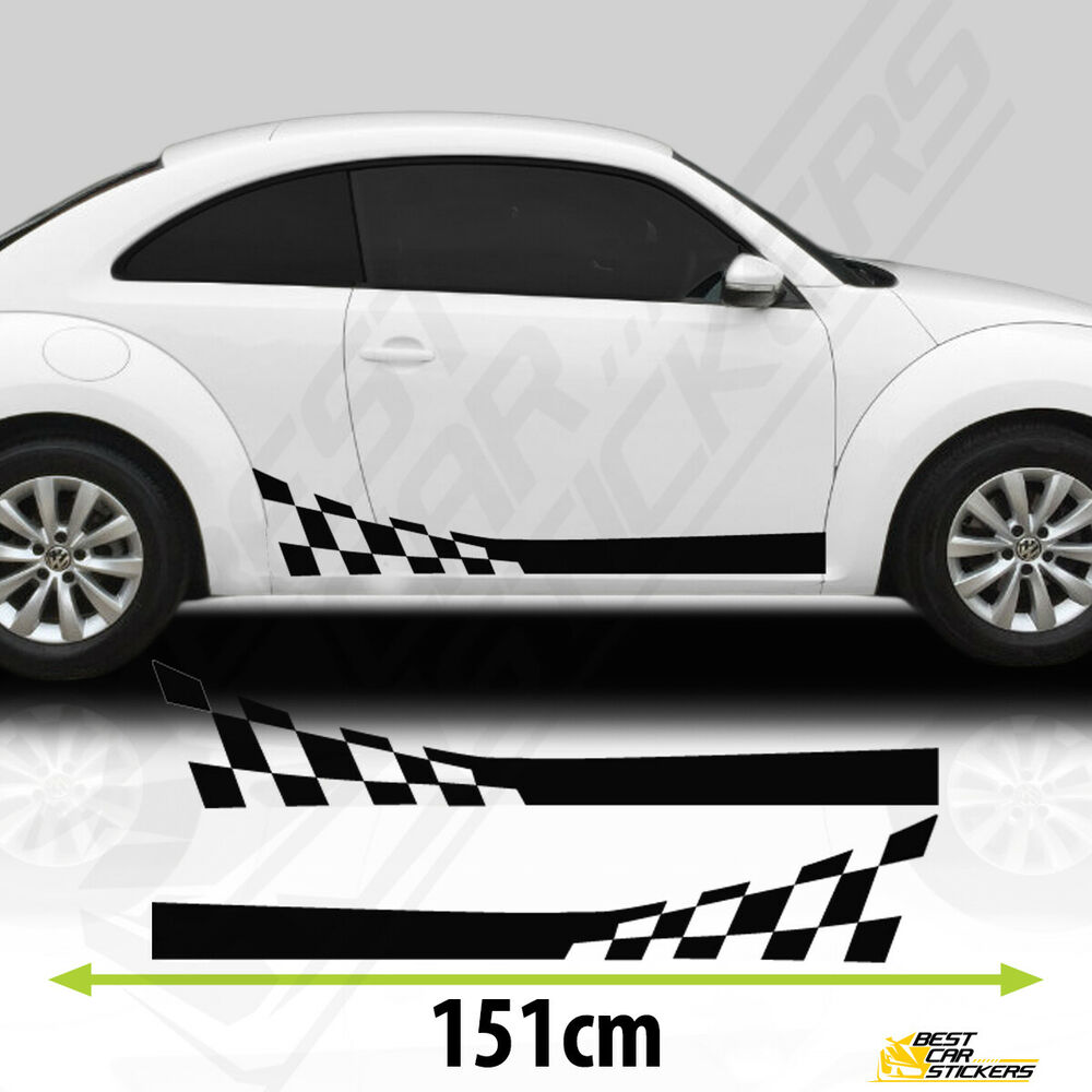 Details about 2x side car racing stripes stickers decals for vw beetle tuning car