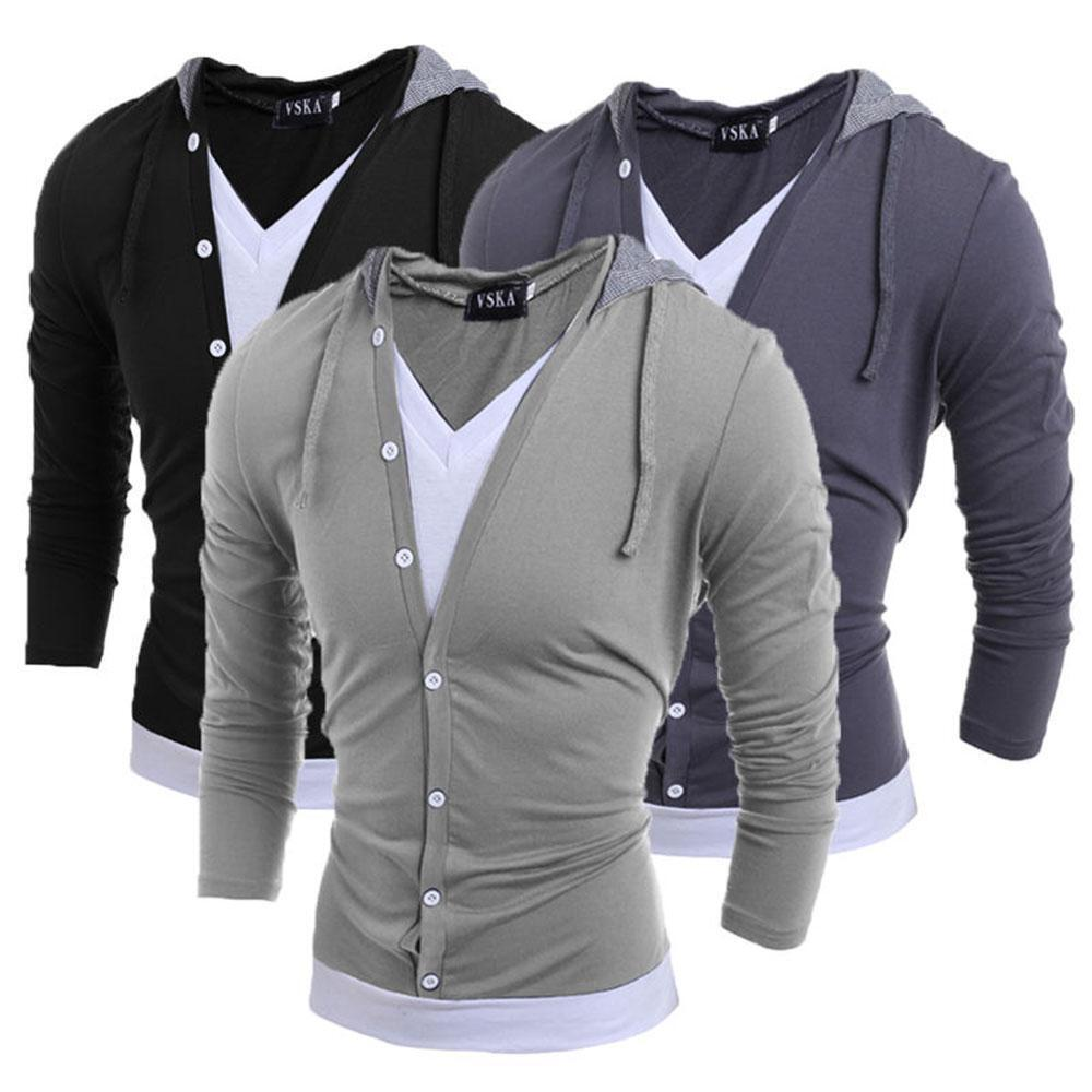1636a70e887404 Details about Fashion Men Slim Fit V Neck Long Sleeve Hooded Casual T-Shirt  Tops Tee Shirts