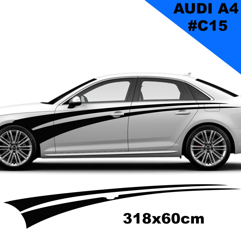 car side racing stripes decals for audi a4 tuning graphics. Black Bedroom Furniture Sets. Home Design Ideas