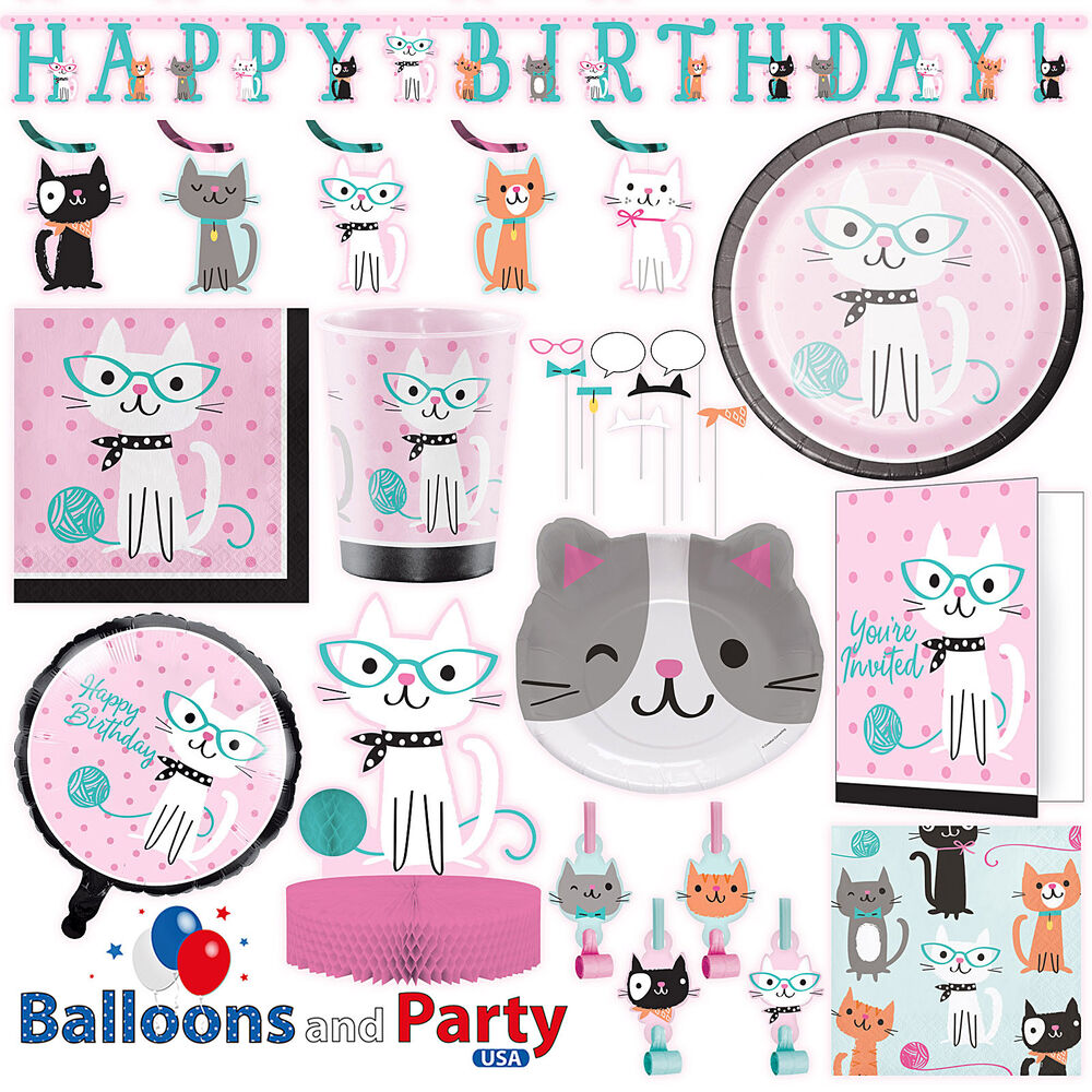 Purr fect kitty cat birthday party tableware decorations for Decoration stuff