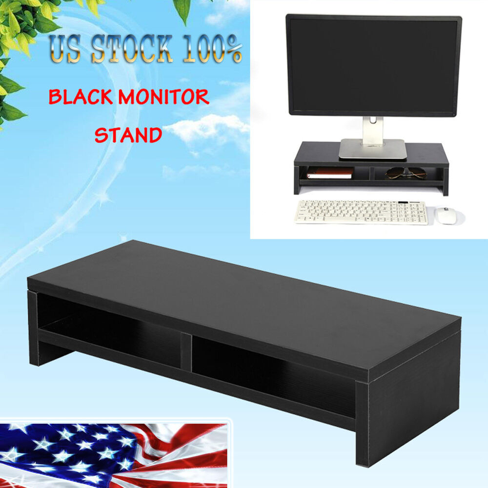 2 Tier Computer Monitor TV Riser Stand Desk Table Shelf Laptop LCD Desktop Wood 614405622073 | eBay