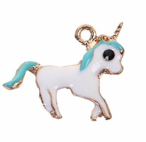 PINK Enamel with Gold Plate Fairy Tale Charms chs3487 5 UNICORN Charms