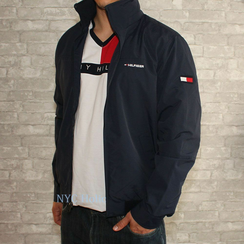 New tommy hilfiger mens yacht jacket navy windbreaker all for Tommy hilfiger shirt size chart