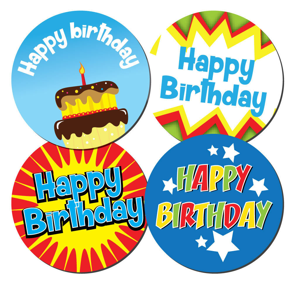 Happy birthday stickers 30mm or 60mm dia crafts cards shops boys ebay