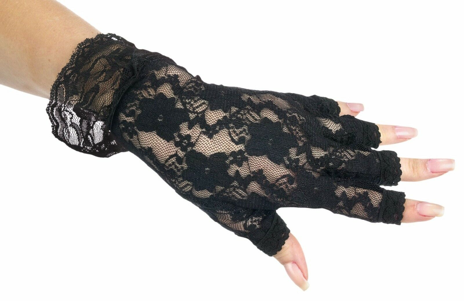 Rocking 80's 80s Black Fingerless Lace Gloves Adult Costume Accessory