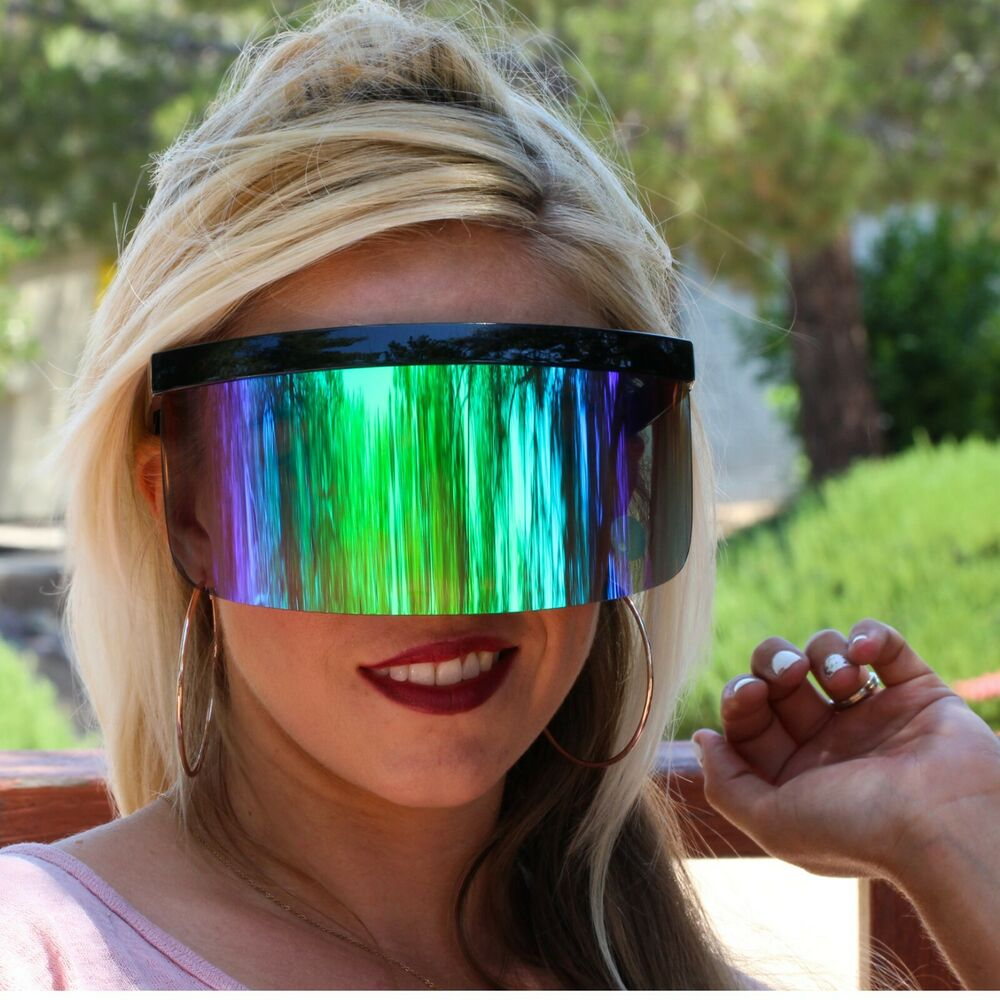 Futuristic Oversized Shield Visor Sunglasses Flat Top ...