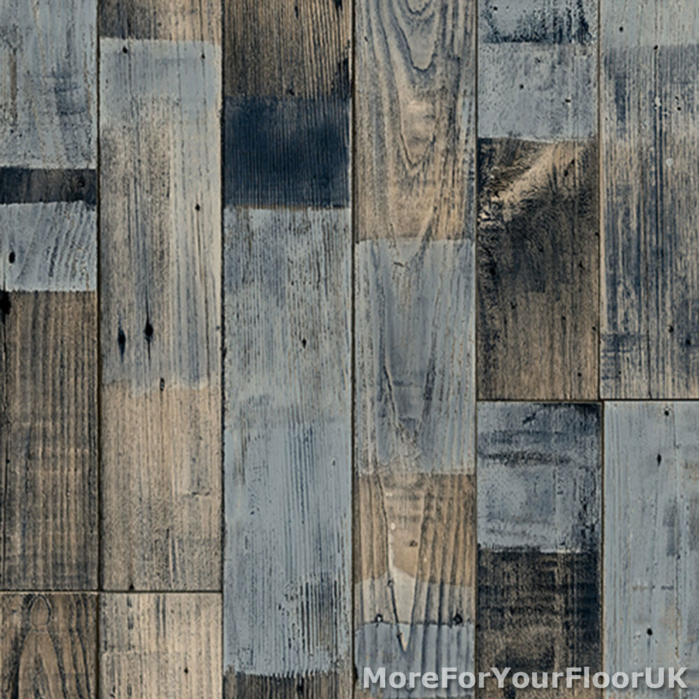 Graue Küche Mit Holzboden: Grey Blue Reclaimed Wood Plank Vinyl Flooring Kitchen