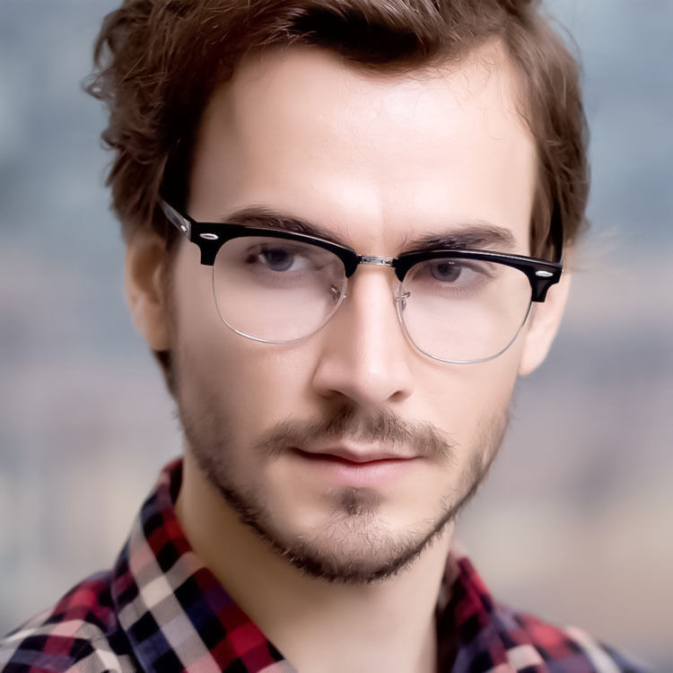 MENS Fashion Club Style Glasses Clear Lens Half Frame ...
