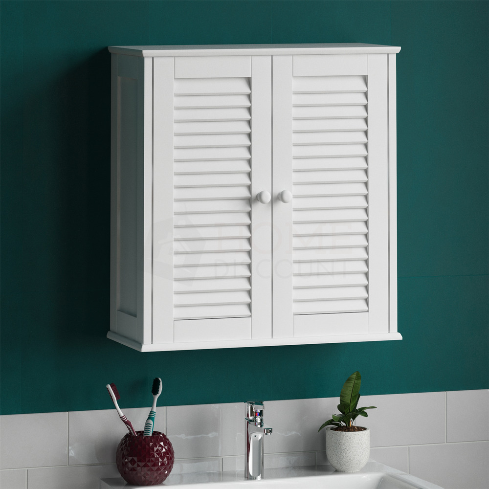 Bathroom cabinet wall mounted double shutter door white - Wall mounted bathroom cabinets white ...