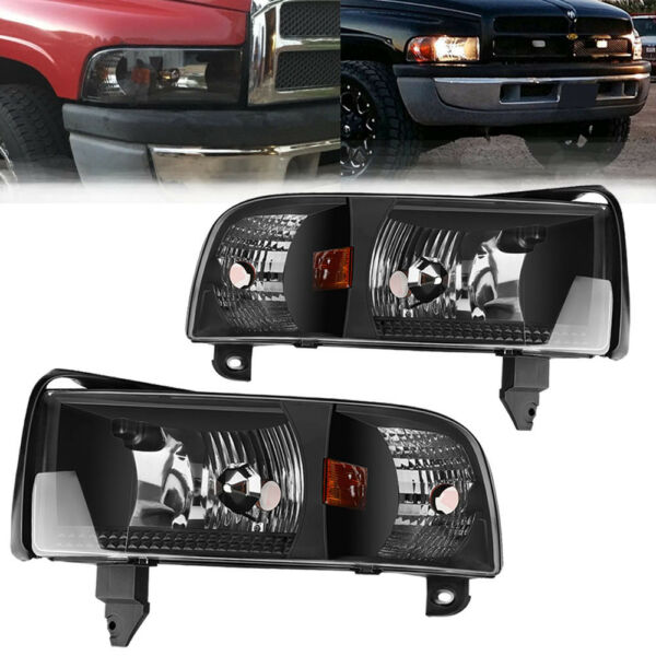 for 1994-2001 Dodge Ram Pickup Black Clear Headlights Assembly w/ Corner Lamps