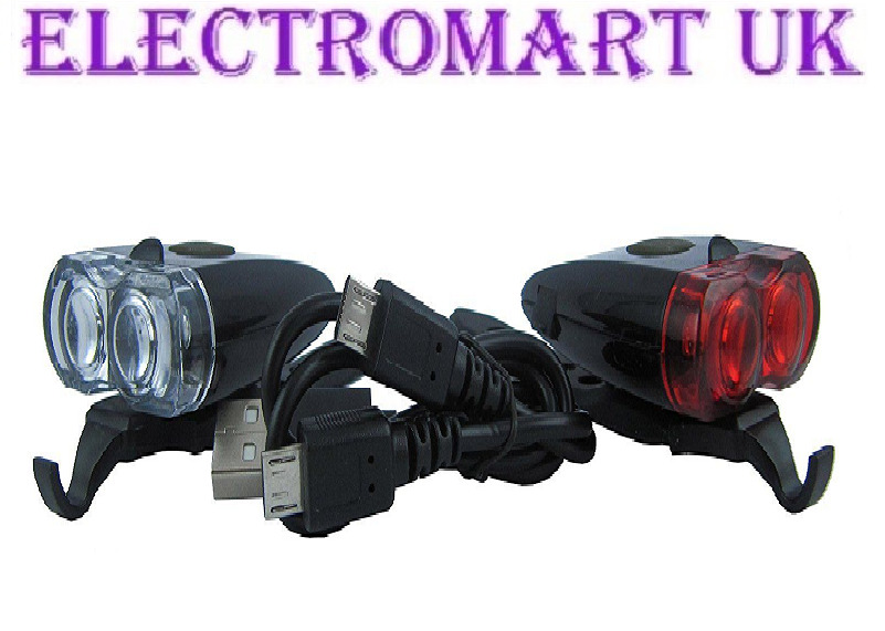 Rechargeable High Power Usb Front Amp Rear Bike Cycle