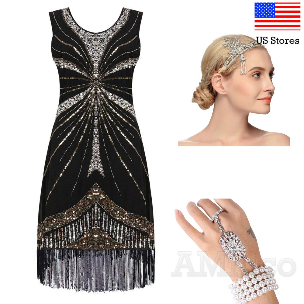 4f5bb130d5 Details about 1920s Dresses Flapper Gatsby Dress Cocktail Evening Sequin  Art Deco 20 s Costume