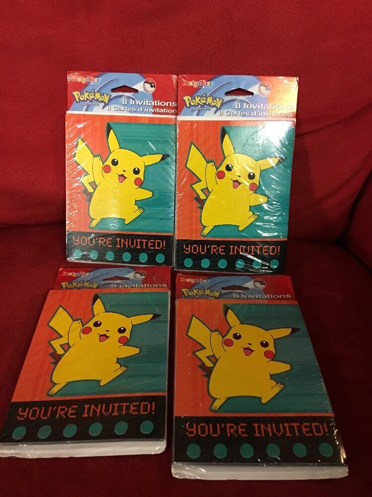 Details About Pokemon Birthday Invitations 4 Packs 8 Card Packs 32 Total Invites Designware