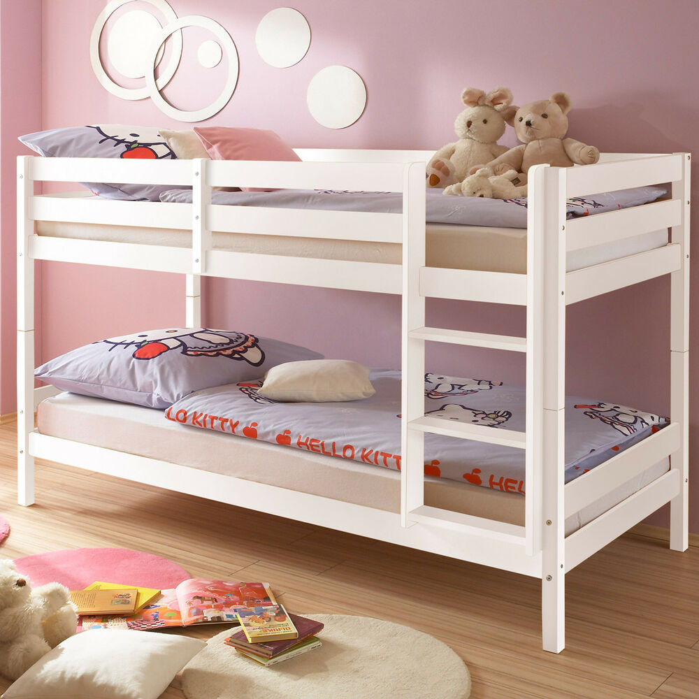 etagenbett hochbett moritz kinderzimmer bett 90x200 kiefer massiv wei leiter 5907636942733 ebay. Black Bedroom Furniture Sets. Home Design Ideas