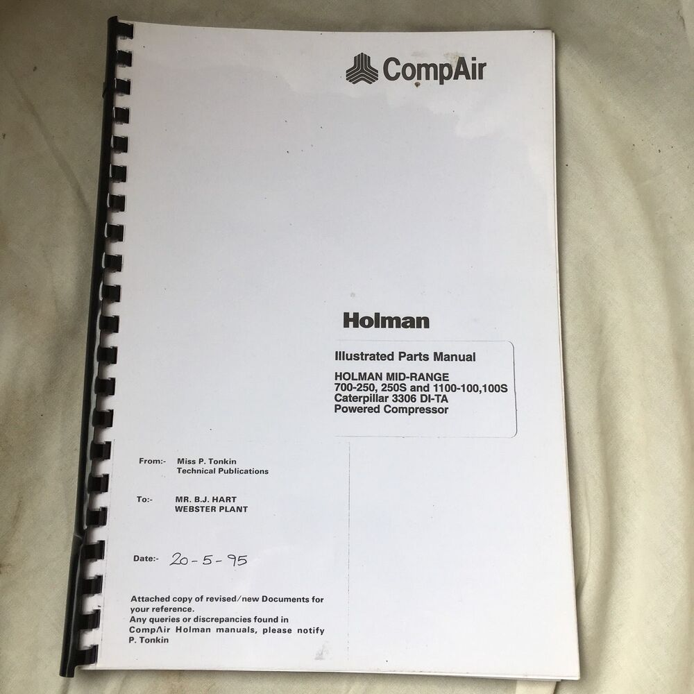COMPAIR HOLMAN CAT ENGINE 700-250, 1100-100 AIR COMPRESSOR PARTS MANUAL  INCVAT | eBay