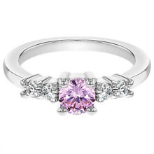 Rhodium Plated Small Clear Pink Crystal Toddler Baby Girl Ring