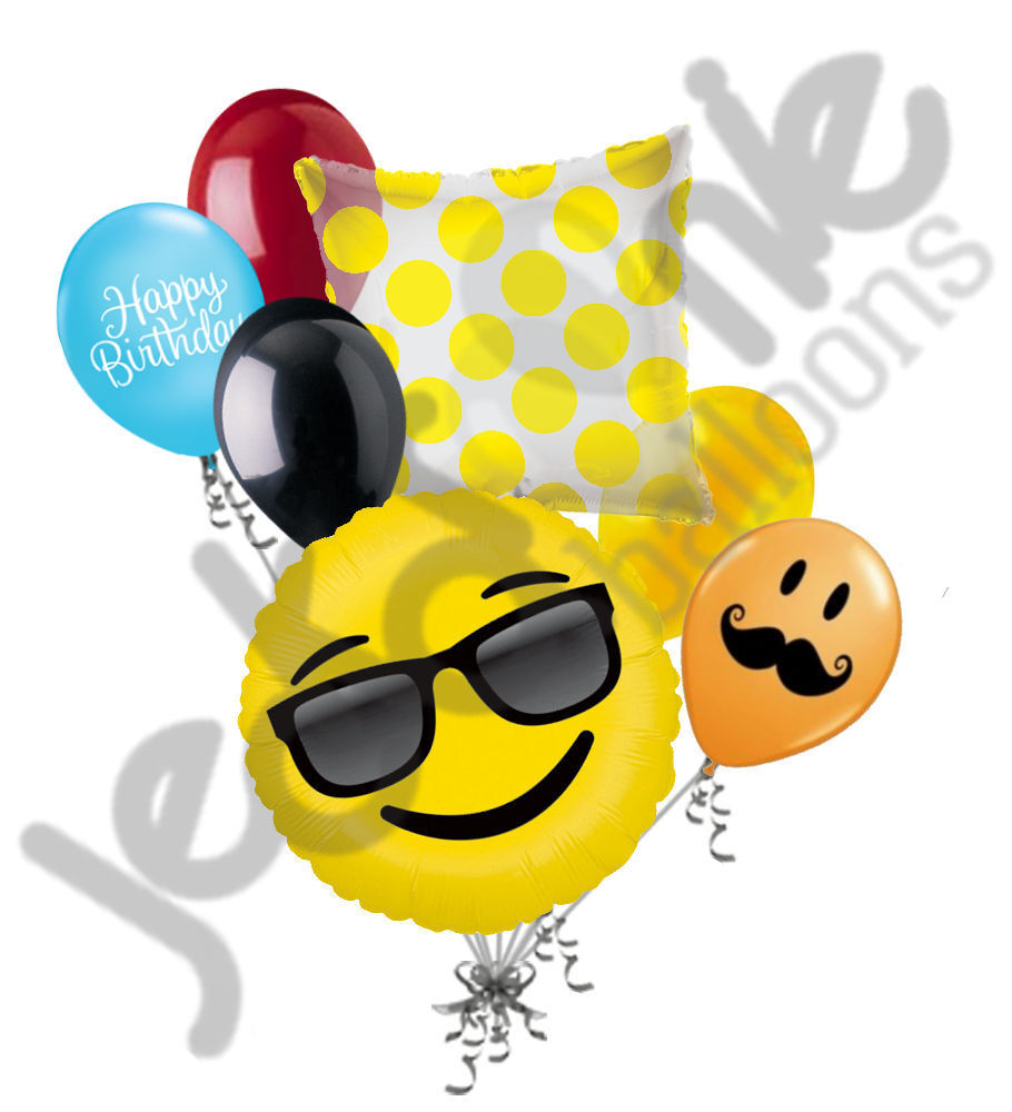 7 Pc Emoji Sunglass Cool Balloon Bouquet Party Decoration