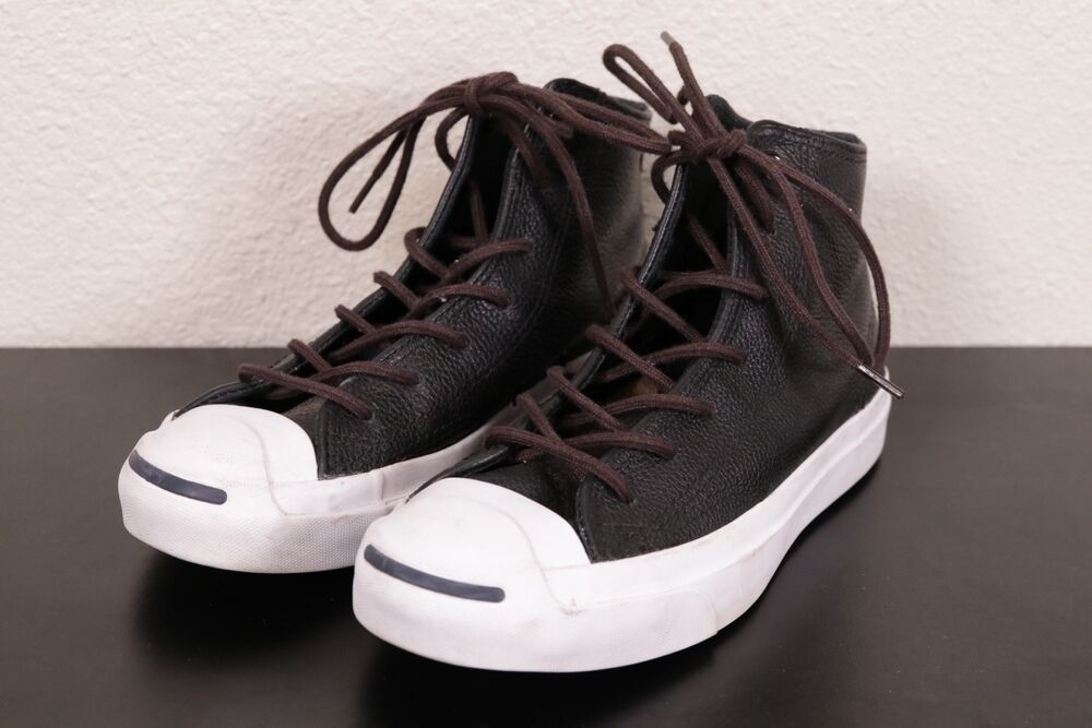 324a08522bca4b Details about CONVERSE Jack Purcell Hi-Top Sneakers Casual Shoes -Black White  Leather Men s 4