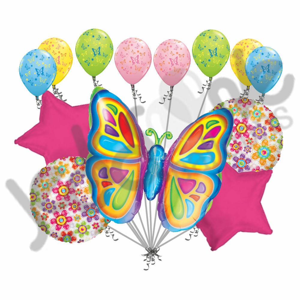 13 Pc Bright Butterfly Balloon Bouquet Happy Birthday