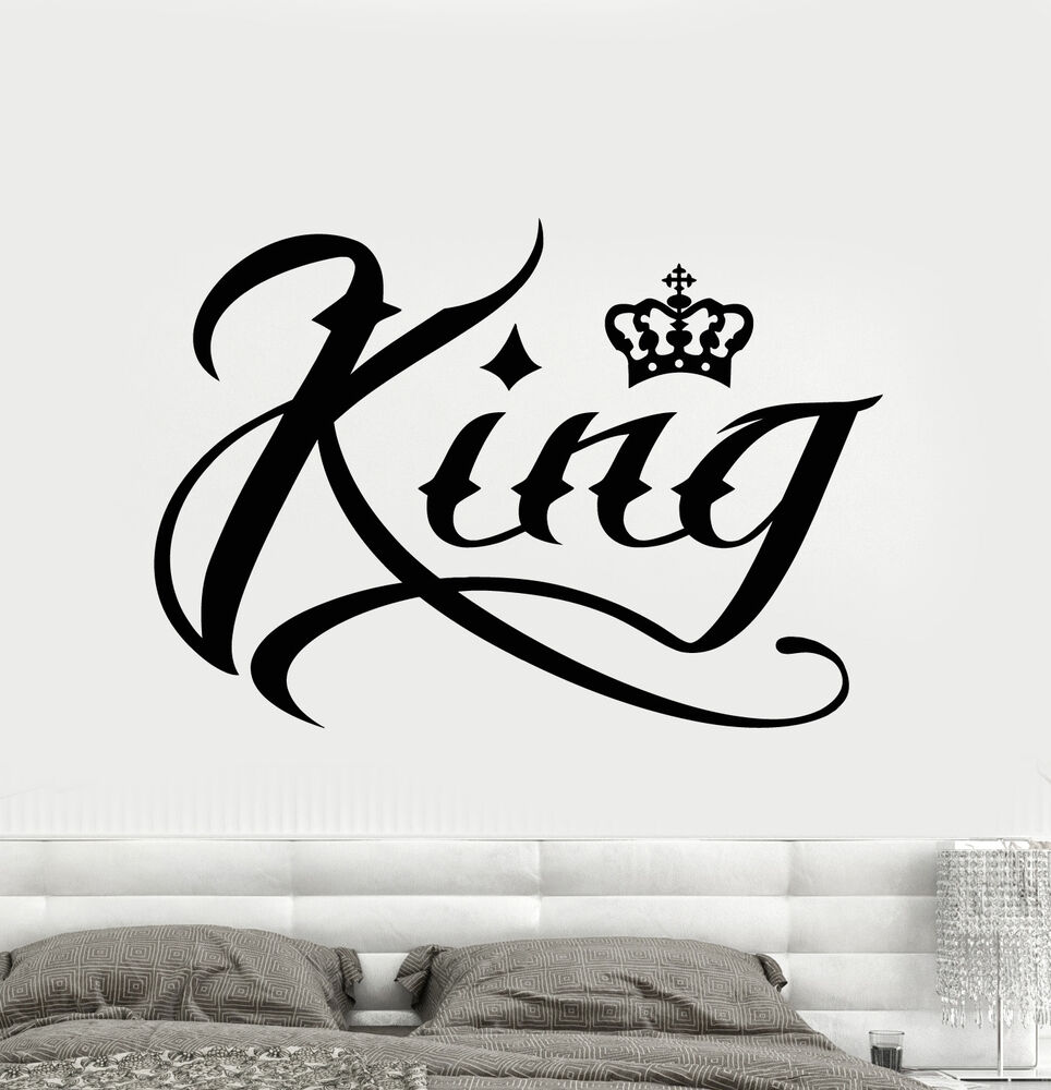 Vinyl Wall Decal King Word Inscription Crown Stickers