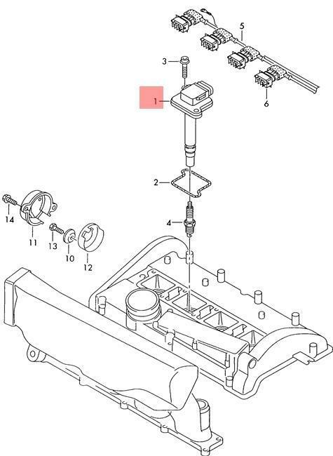 Genuine Ignition Coil With Spark Plug Connector Audi Vw Audi A6