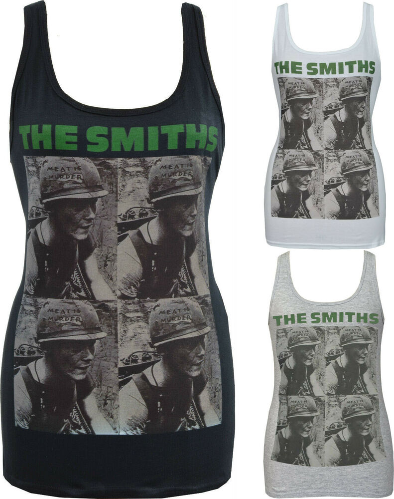 261fb60751de5d Details about WOMENS WHITE TANK TOP THE SMITHS MEAT IS MURDER ARMY VEGAN  MORRISSEY S-2XL