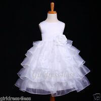 WHITE COMMUNION BAPTISM WEDDING CHRISTENING FLOWER GIRL DRESS 12M 18M 2 4 6 8 10