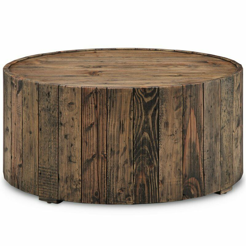 Magnussen Dakota Round Coffee Table With Casters In Rustic Pine Ebay