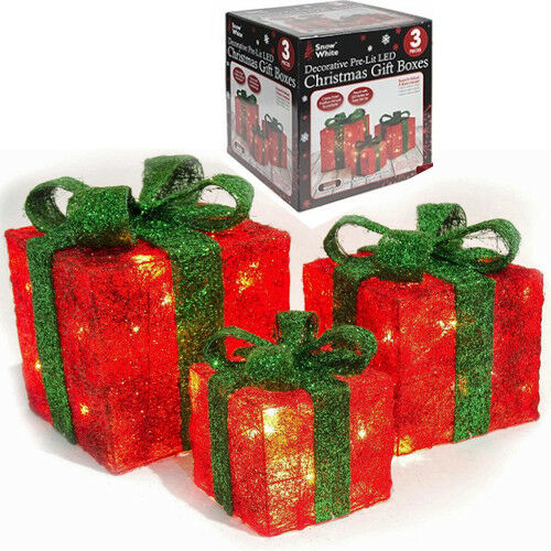 set of 3 light up gift boxes presents christmas glitter led indoor decoration