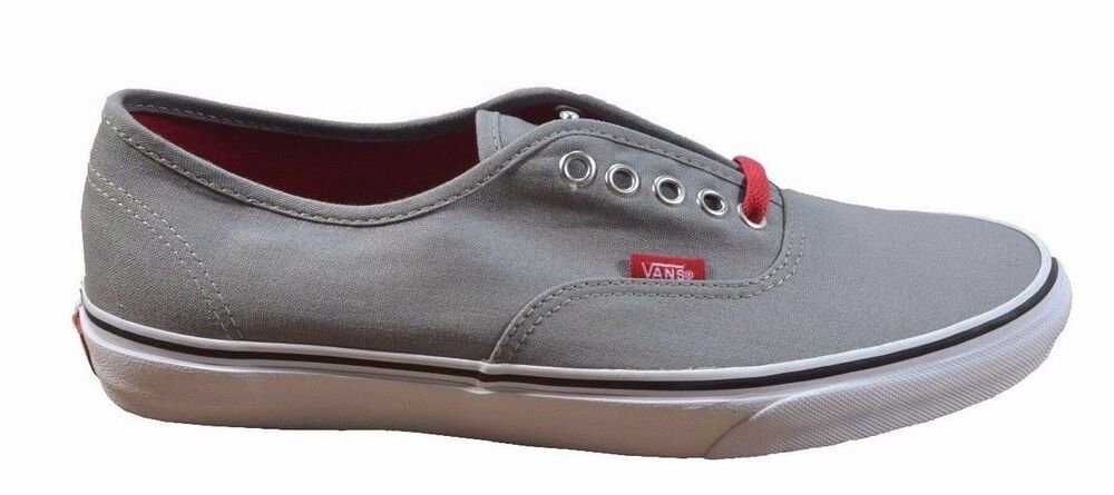 Details about Vans AUTHENTIC POP LACE Frost Grey Red Lace Skate VN-0QER74Y  (484) Men s Shoes bafece42fc