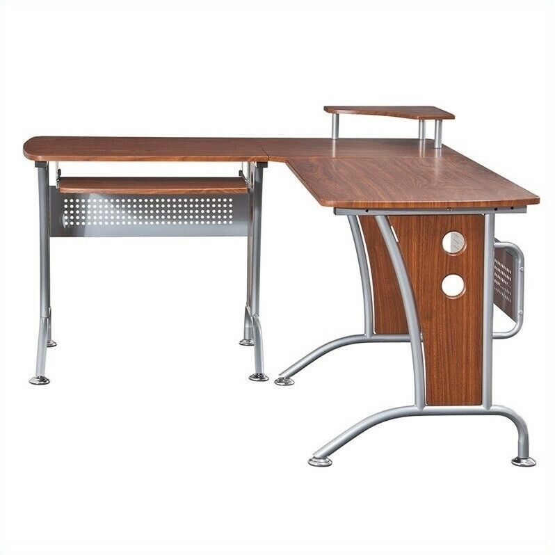Oversized Wood And Metal Laptop Table: Computer Desk Home Office Workstation Table L-Shape Wood