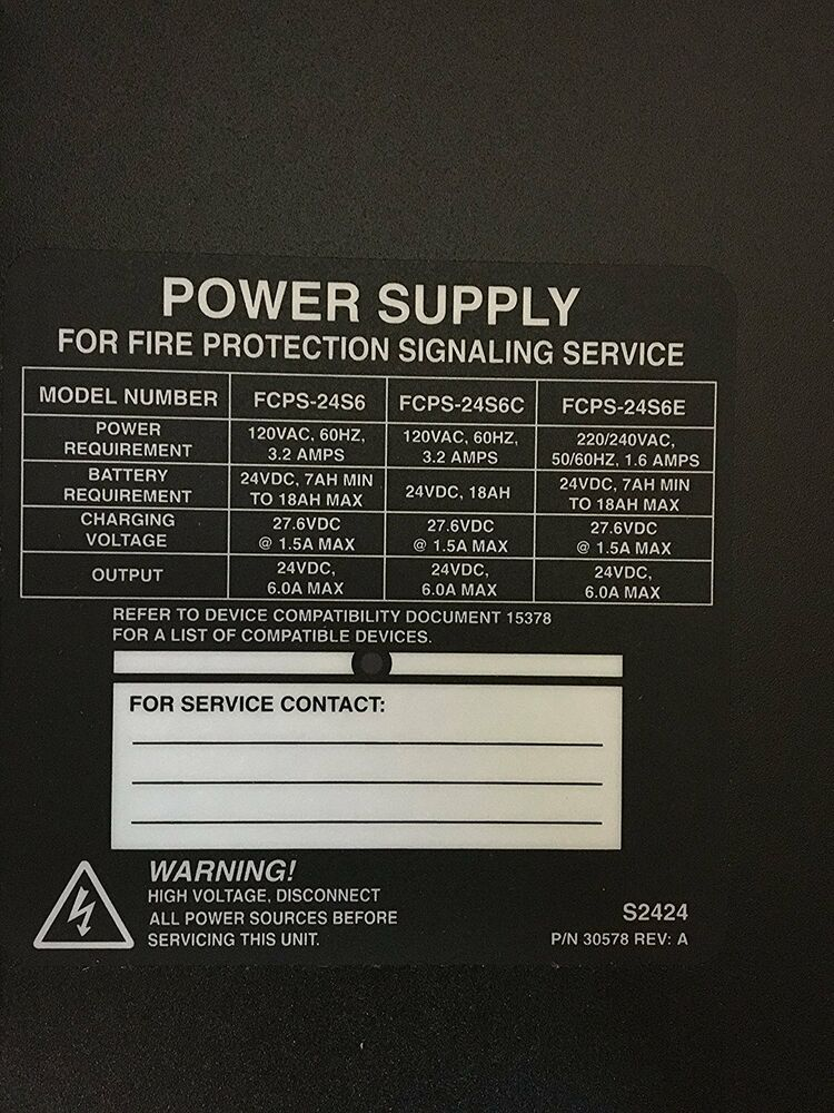 NEW NOTIFIER FCPS 24S6 POWER SUPPLY FOR