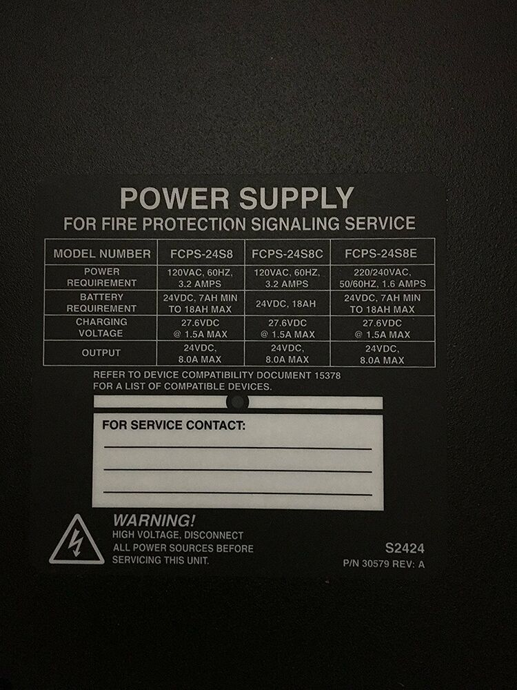 NEW NOTIFIER FCPS 24S8 POWER SUPPLY FOR