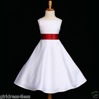 WHITE/APPLE RED A-LINE HOLIDAY FLOWER GIRL DRESS 12M-18M 2/2T 4 6 8 10 12 14 16