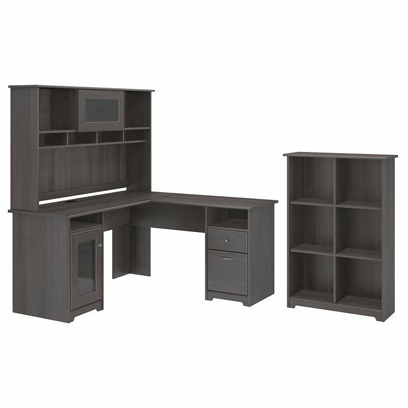 Cabot L Shaped Desk With Hutch And 6 Cube Organizer In