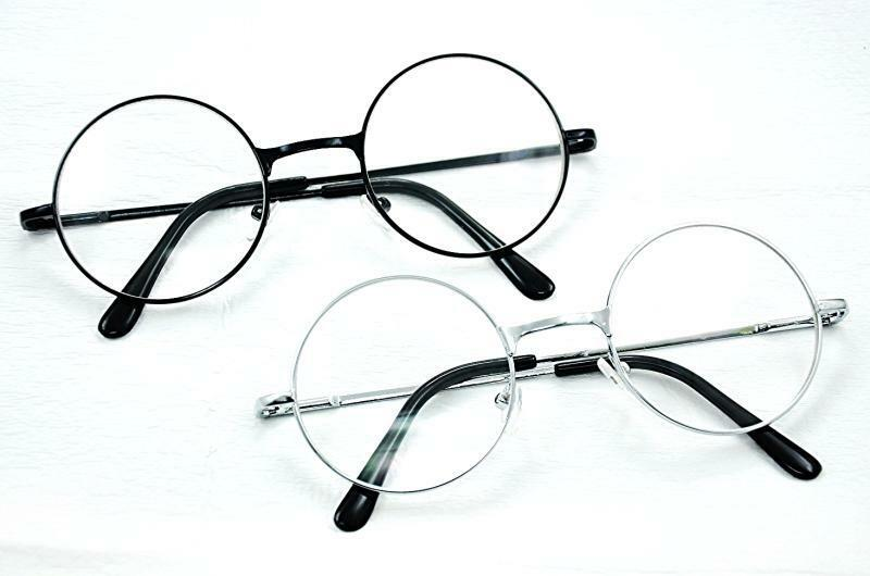 GF52 Retro Round Frame Silver or Black Metal Clear Lens Glasses ...